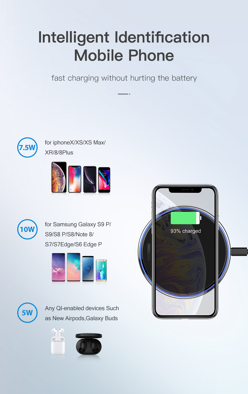 KUULAA Wireless Charger 10W Qi for Samsung S9 S10+ Note 9 8 Mirror Wireless Charging Pad 7.5W for iPhone X/XS Max XR 8 Plu 6