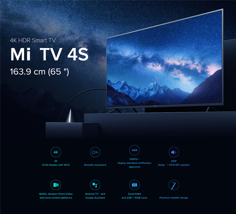 Xiaomi Mi TV 4S 65 Pouce 4K prix maroc