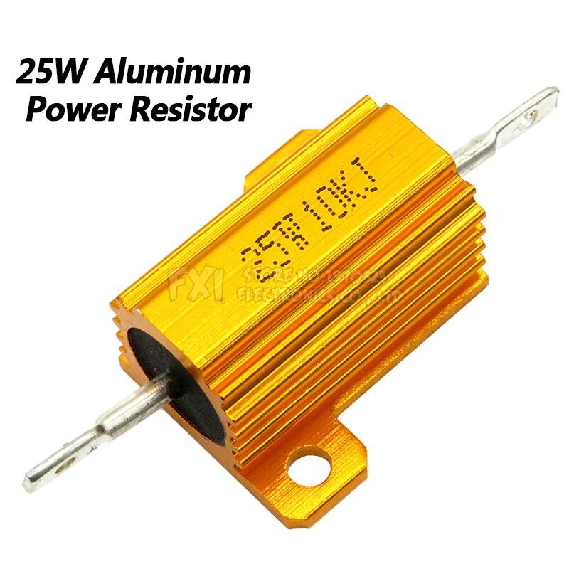 1pc 8 ohm 8R 200W Watt Aluminum Housed Metal Case Wirewound Resistors Gold Tone