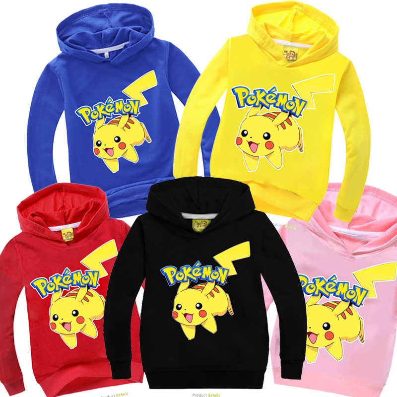 Pokemon Pikachu Kids Boys Girls Hoodies Sweatshirt Coat Jacket Sweater Pullover