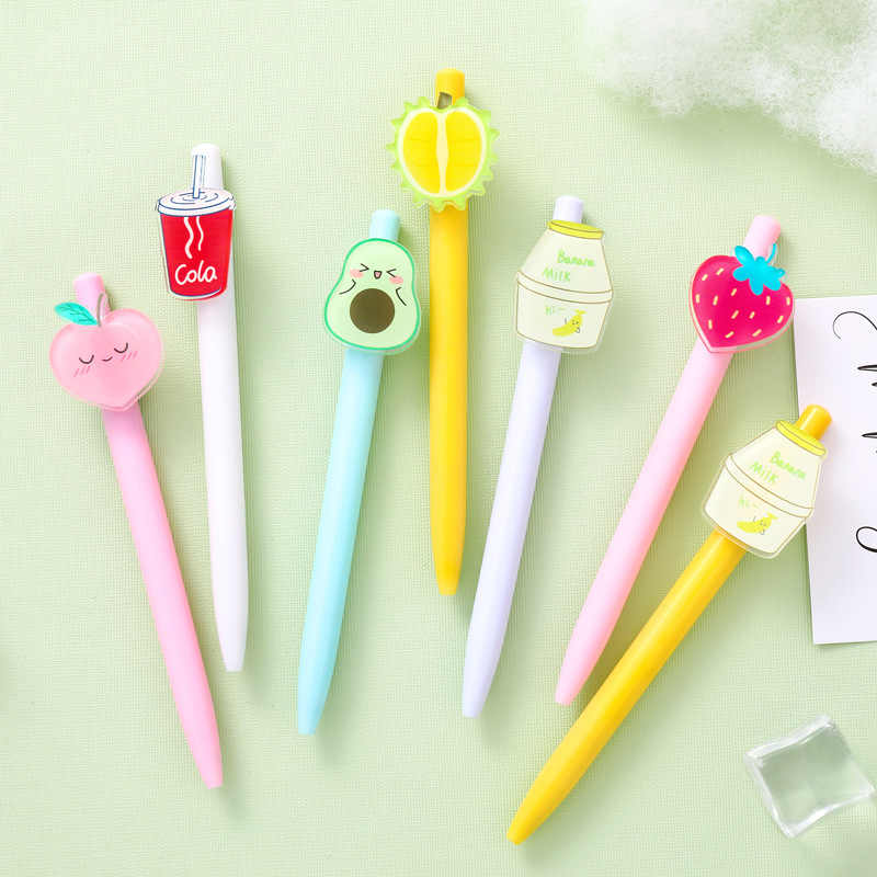 Cartoon Black Ink Fruit Cute Press Stationery Gel Pen Neutral Pen Signature Pen
