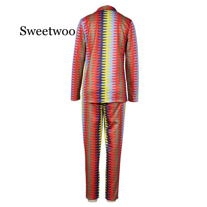 Autumn Winter Women Tracksuits Long Sleeve Blazer Straight Pants suits OL Women Striped Print Casual Fashion 2 Piece Suit