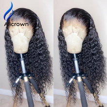 Human-Hair-Wigs Curly Density Bleached Knots Lace-Front No-Remy ALICROWN Pre-Plucked