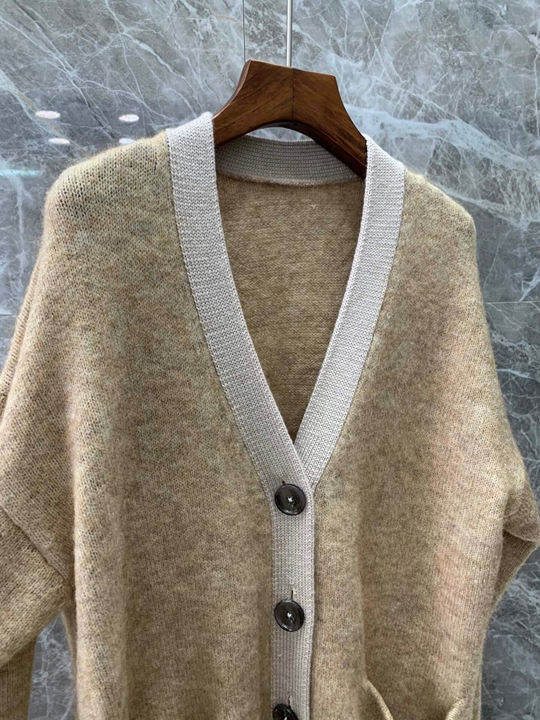 Nowy jesień i zima 2019 kobiet dzikie luźny dzianinowy moher cardigan sweter 1202 -