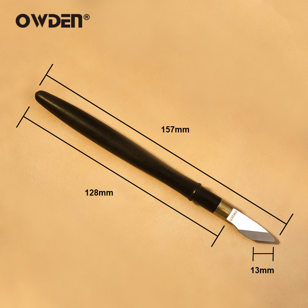 OWDEN Leather Carving Skiving Knife DIY Utility Artwork Ebony Handle Sharp Cutting Tool