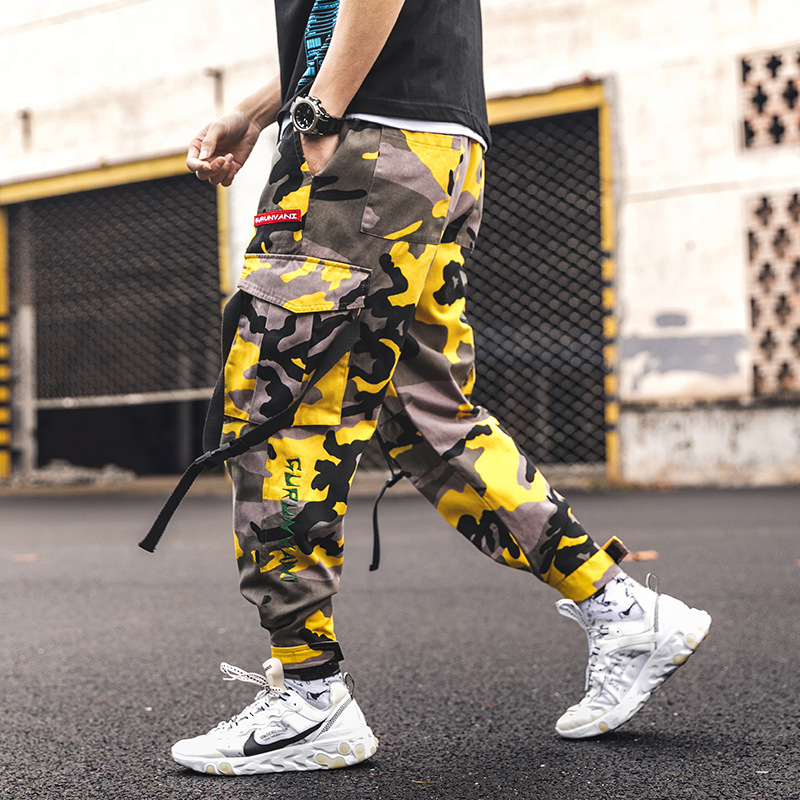 Casual Pants Side-Pockets Oversize Jogger Camouflage Hip-Hop Loose-Style High-Street title=
