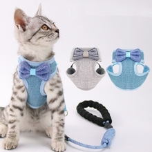 Lead-Rope Harnesses For Cats Leash Dogs Adjustable Small-Sized And Bowknot with Cute