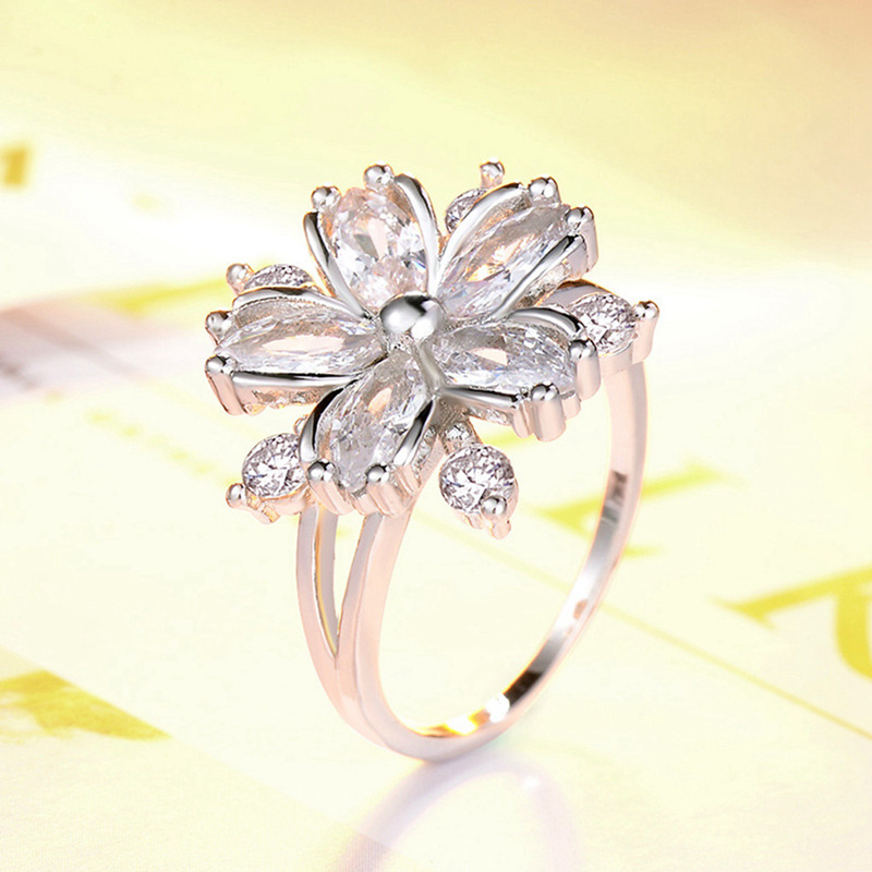 Fashion Women Cherry Blossom Ring Lady Zircon Floral Finger Crystal Ring Size 6-10