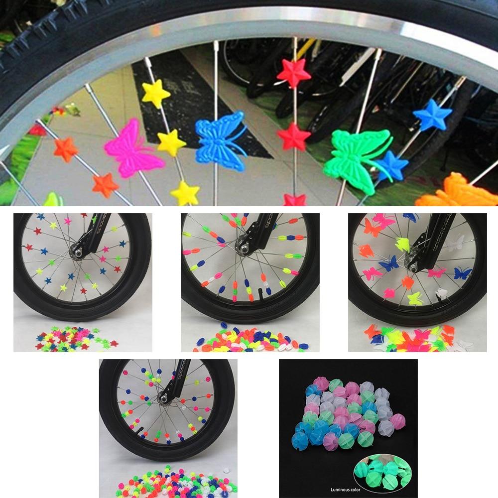Children Clip Colored Decoration 36 24pc Bicycle Bike Wheel Plastic Spoke Bead