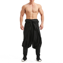 Trousers Kimono Samurai Japanese Traditional White Leg-Pants Black Male One-Size Casual