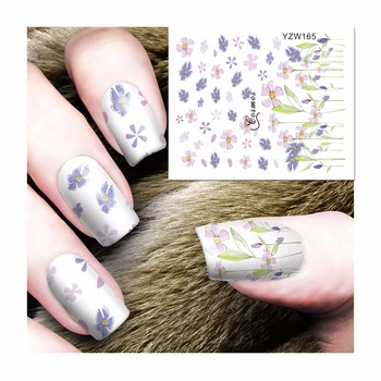YZWLE 1 Sheet Nail Art Wrap Water Transfer Nails Sticker Chic Flower Water Decals Stickers Decoration Tools Wraps 165