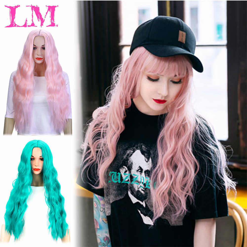 LM FashionHeat Resistant African American Long Wavy Wigs with Bangs Blonde Pink Green Synthetic Wigs for Women Overwatch Cosplay