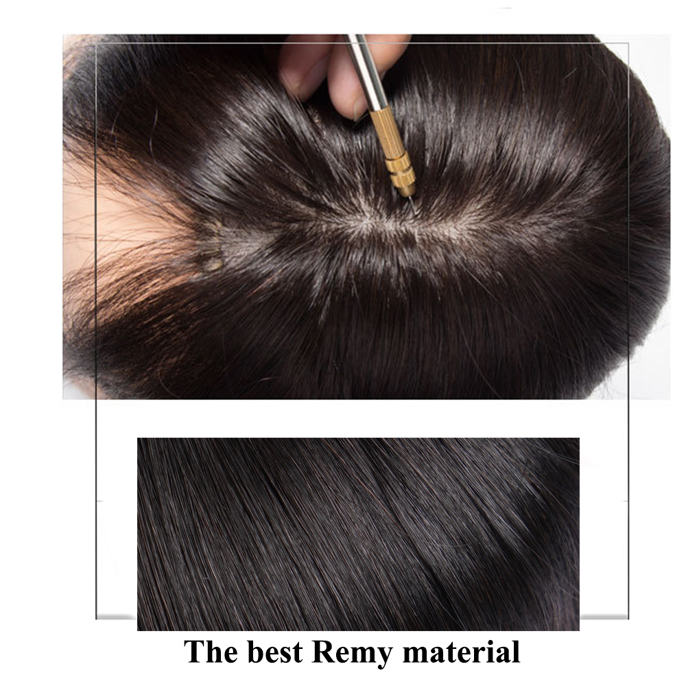 8 inches Straight Silk Base Hair Topper Toupee For Women Natural Color Hair Piece Clip In Hair Extensions Toupee Remy Hairpiece