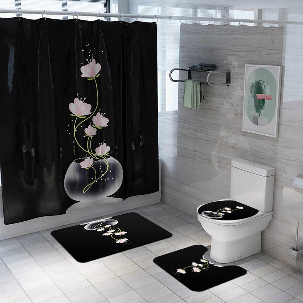 Polyester Waterproof Metal Anchor Shower Curtain Bathroom Mat Accessory Set