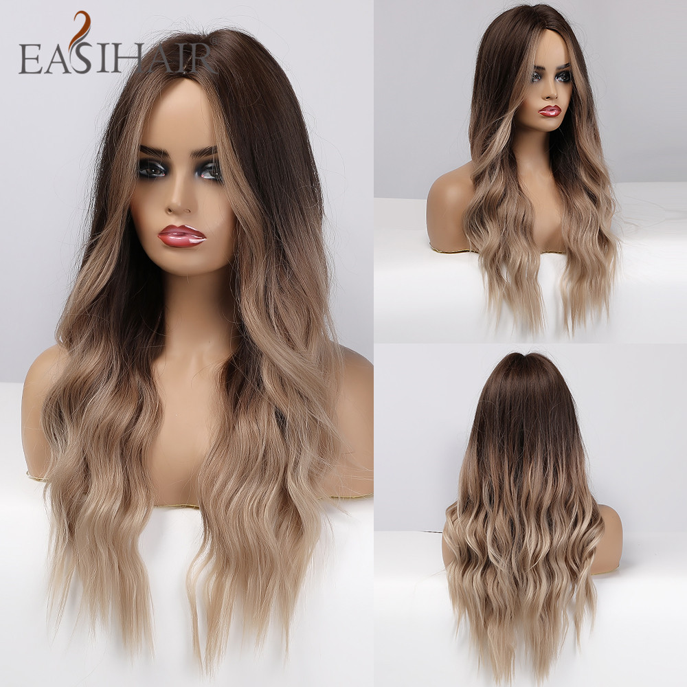 EASIHAIR Long Blonde Synthetic Hair Wigs for Women Brown Ombre Middle Part Wavy Cosplay Wigs Heat Resistant Natural Hair Wig