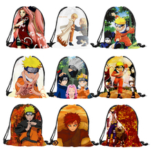 Popular comic character series Naruto prints Drawstring Backpack Mochila Feminina boys Casual Polyester Sport gym shoulder bags