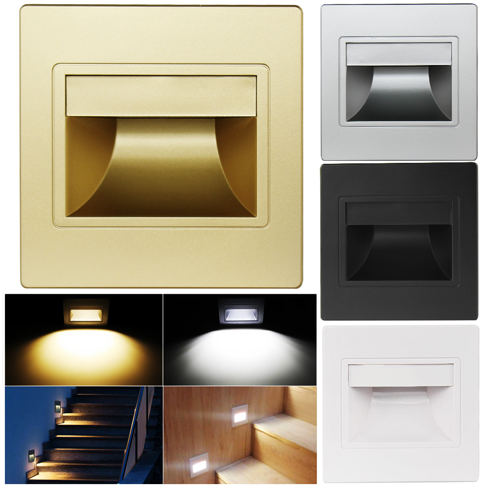 Dozzlor New 1/5pcs Recessed LED Wall Step Light Walkway Lamp Stair Path Light Energy Saving Switch Control For Indoor Wall Lamps
