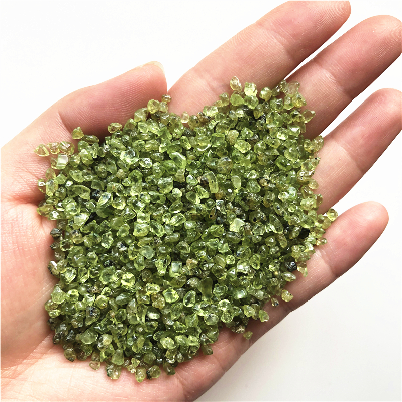 Small Green Peridot Tumbled Chip Crushed Stones
