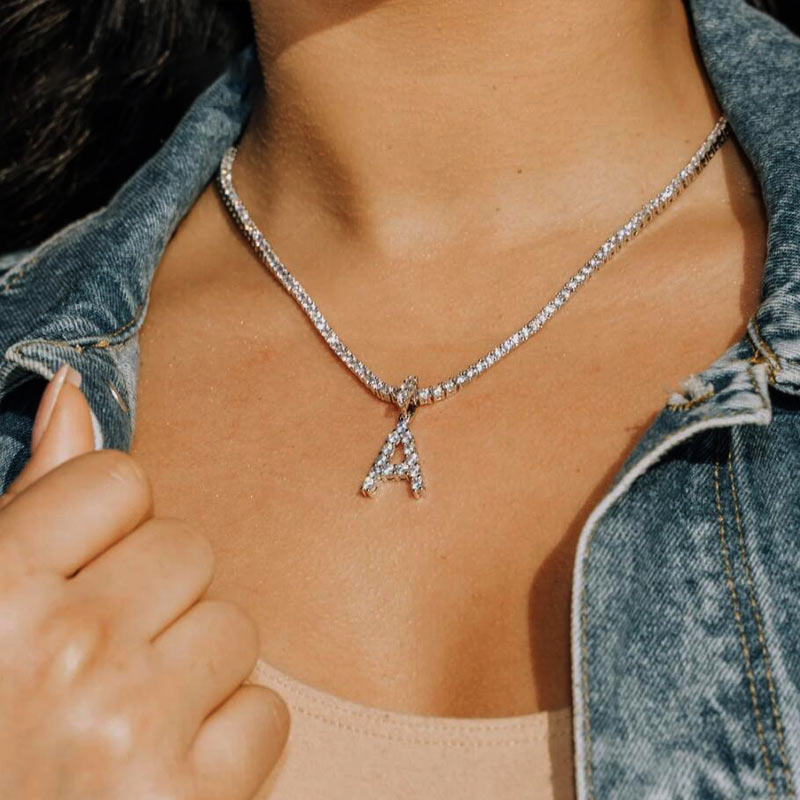 Caraquet Ice out A Z Letter Initial Pendant Necklace Silver Color Tennis  Chain Choker Necklace Female Fashion Statement Jewelry|Chain Necklaces| -  AliExpress