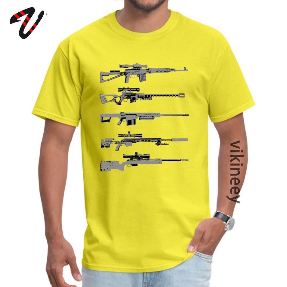 100% Cotton Men Short Sleeve Sniper Rifles Tshirts Design Tops Shirt Retro Design O Neck T-shirts Wholesale Sniper Rifles 12799 yellow