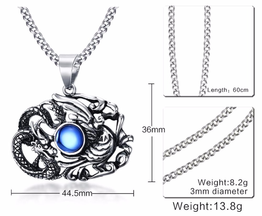 Chinese Feature Mens Necklaces Stainless Steel Dragon and Phoenix Pendant Necklace Men Vintage Punk Bike Jewelry Accessories blue collares collier colar choker 14