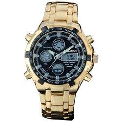 Часы-хронограф мужские кварцевые стальные под золото в стиле «Милитари»