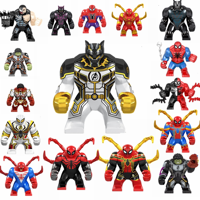 Marvel Superhero Spiderman Batman Iron Man Hook Poison Black Panther Toys & Hobbies Avengers MOC Building Blocks Children