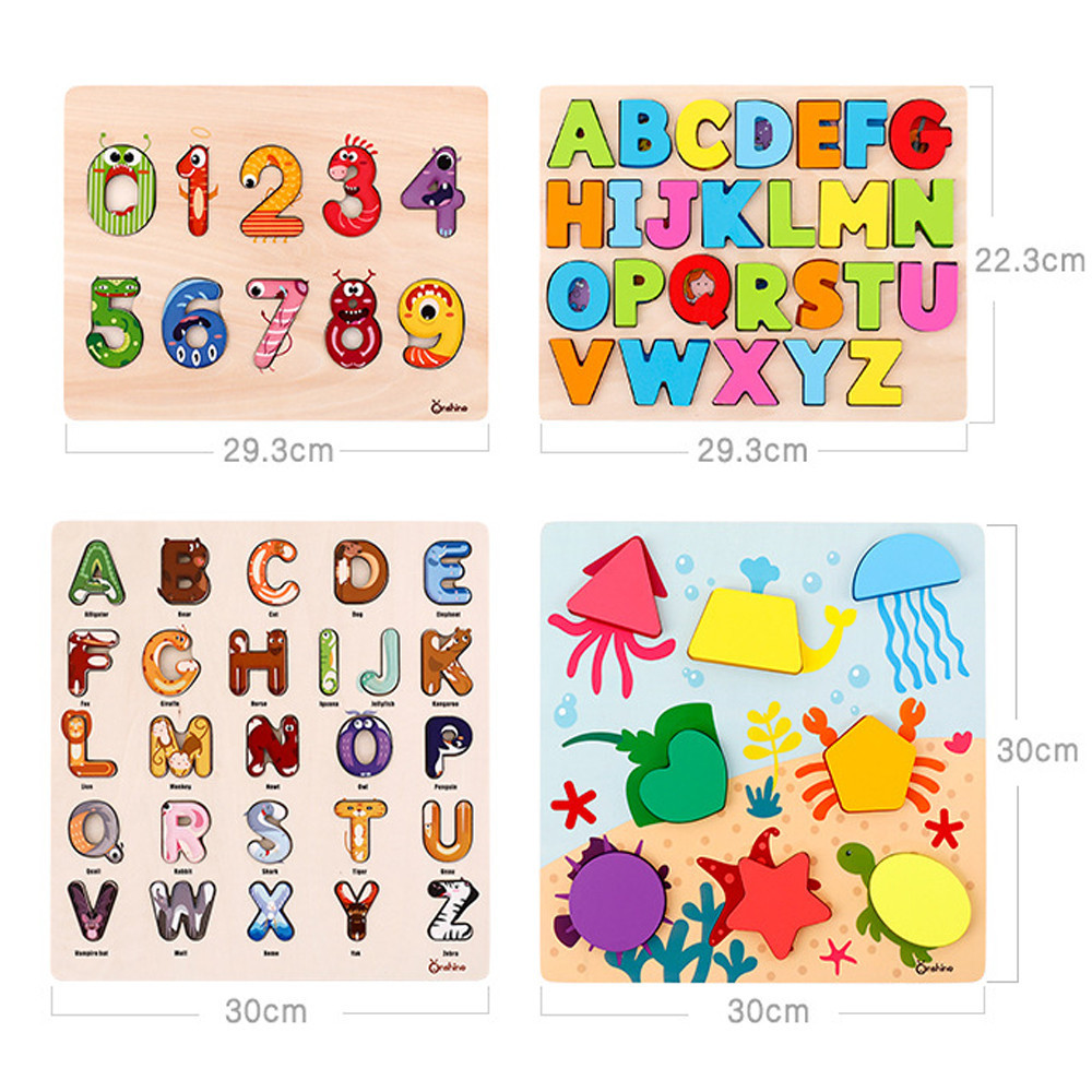 Alphabet Wooden Puzzle Board Boy Girl Educational Toy cartoon numeral Learning Education Interesting Wooden Toys #D