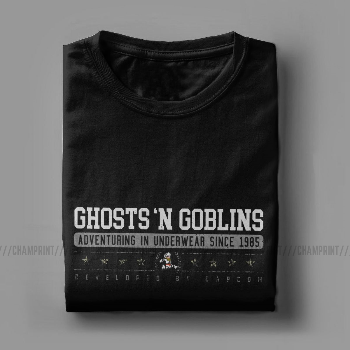 Novelty Ghosts 'N Goblins T-Shirts Men Round Neck Cotton T Shirts Ghouls 'n Ghosts Daimakaimura Arcade Games Tees Graphic Tops