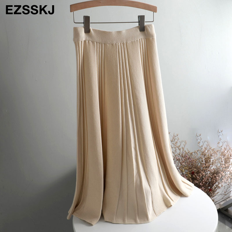 Vintage Winter Women thick sweater skirt Elastic High Waist Pleated Midi knitted Skirt A-line female solid elegant Skirts 15
