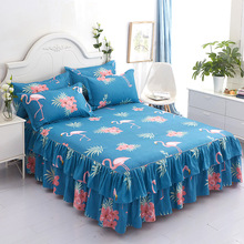 Bedspreads Queen Bed-Skirt Bedding-Set Ruffled 3pcs Christmas-Decor Flamingo-Pattern