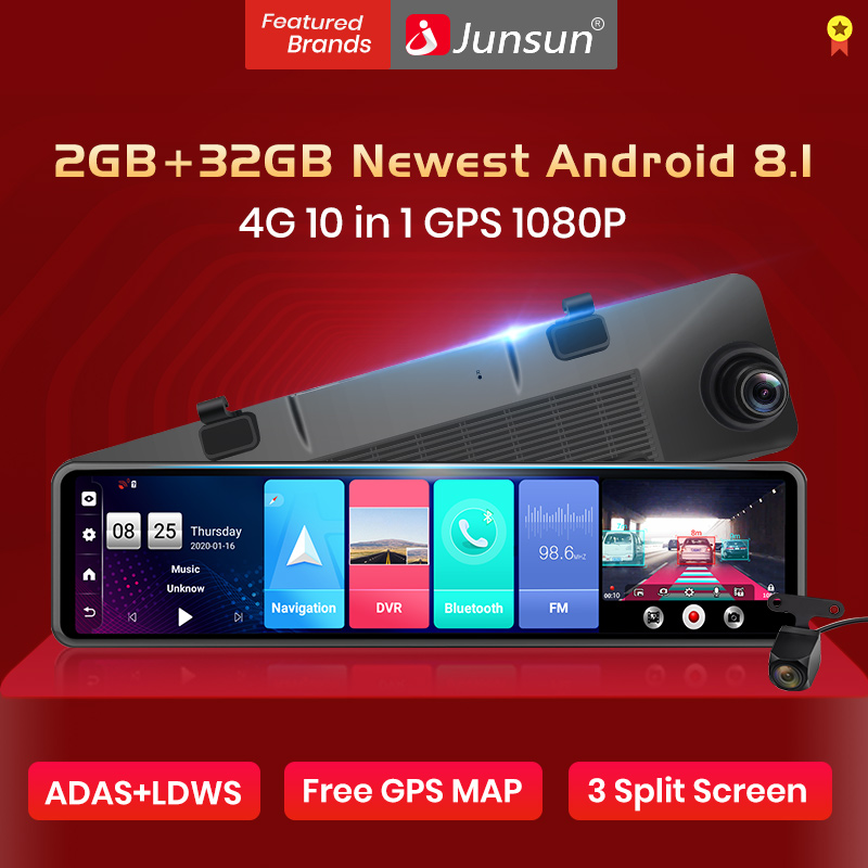 "Junsun 2020 new 4G Android 8.1 Triple screen 12"" RearView Mirror Camera ADAS 1080P title="