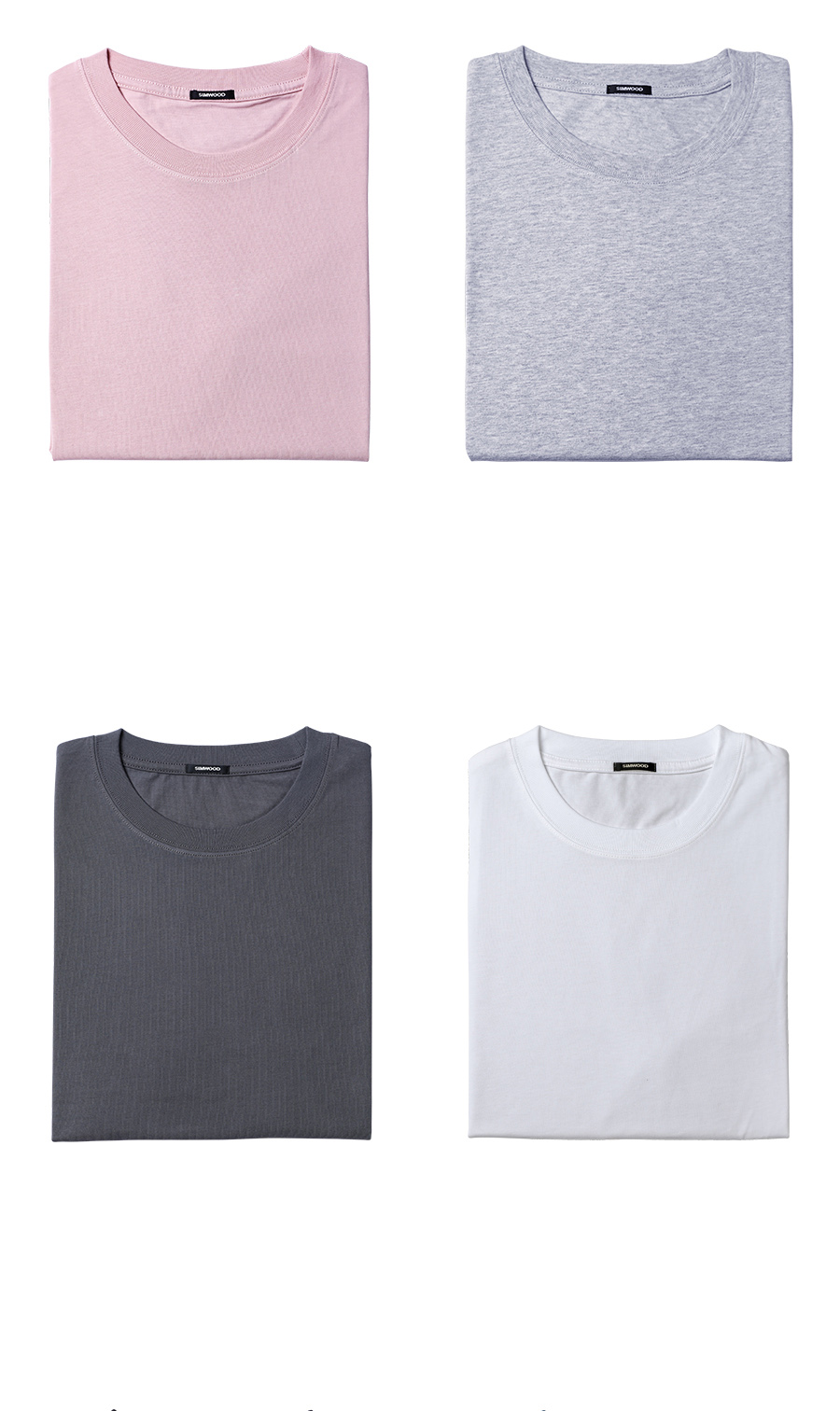 SIMWOOD 19 Summer New T-Shirt Men 100% Cotton Solid Color Casual t shirt Basics O-neck High Quality Plus Size Male Tee 190004 30