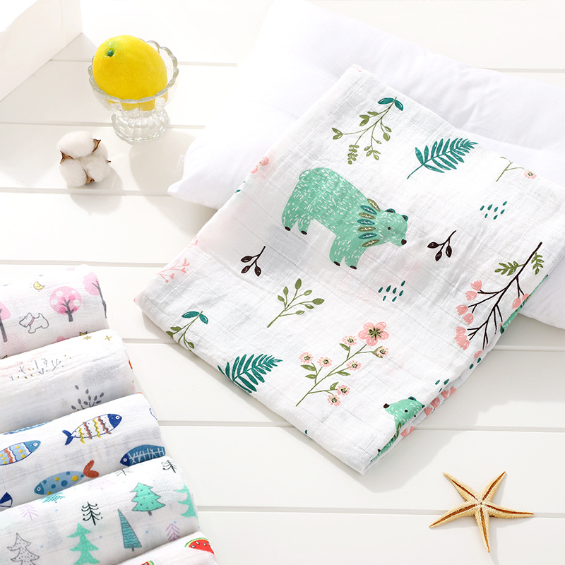 1Pc Muslin 100% Cotton Baby Swaddles Soft Newborn Blankets Bath Gauze Infant Wrap Sleepsack Stroller Cover Play Mat Baby Bath