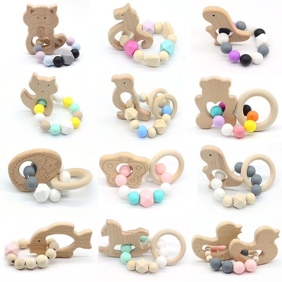Baby Wood Crochet Bead Teething Bracelet Teether Ring Cute Grasping Nursing Toy
