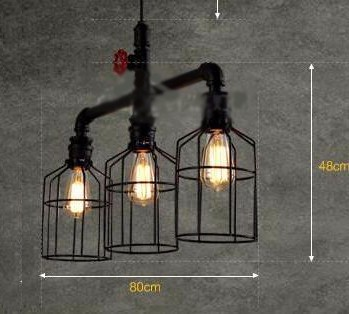Retro metal water pipe light industrial vintage wrought iron chandelier