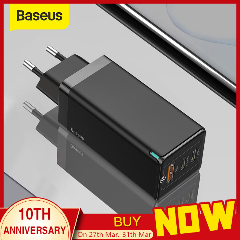 Baseus Usb-Charger Type-C 3-Port Fast PD 65W Qc-4.0  title=