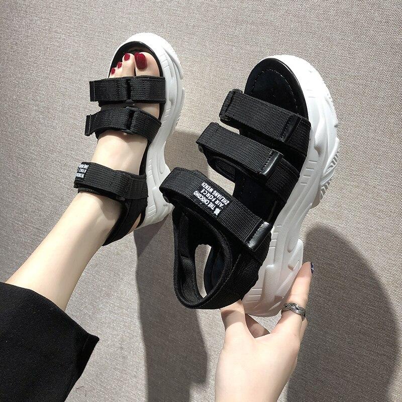 Женские сандалии-гладиаторы на платформе TUINANLE, модные пляжные сандалии на массивной платформе, удобные джинсовые сандалии, лето 2020