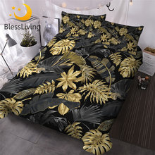 BlessLiving Nature Inspired Bedding Set Tropical Monstera and Palm Leaves 3 Piece Black Gold Trendy Duvet Cover Botanical Chic(China)
