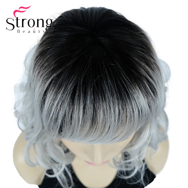 StrongBeauty Lady Women silvery Mix With Dark Root Medium Length Synthetic Hair Wig Ombre Wigs