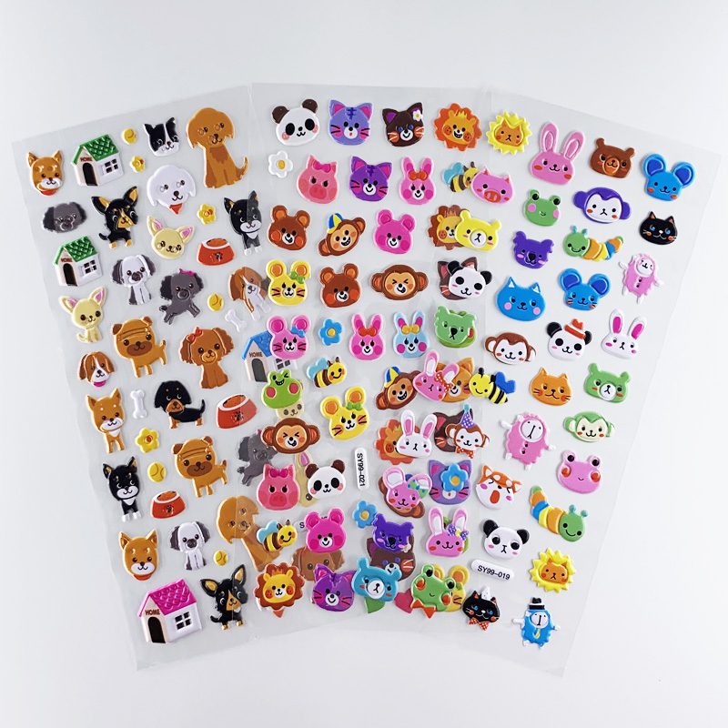 3 Sheets/set 3D Bubble Puffy Cartoon Animal Head Dog Cat Stickers For Girls Boys Waterproof DIY Scrapbook Sticker Toy Kids Gift