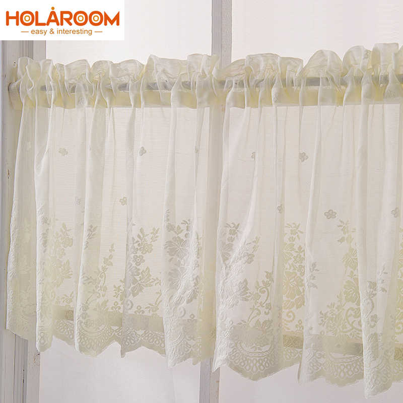 Kitchen Rod Curtain Coffee Color Home/Living Room Lace Decor Jacquard weave Finished Curtains Polyester Lace Shorter Curtains