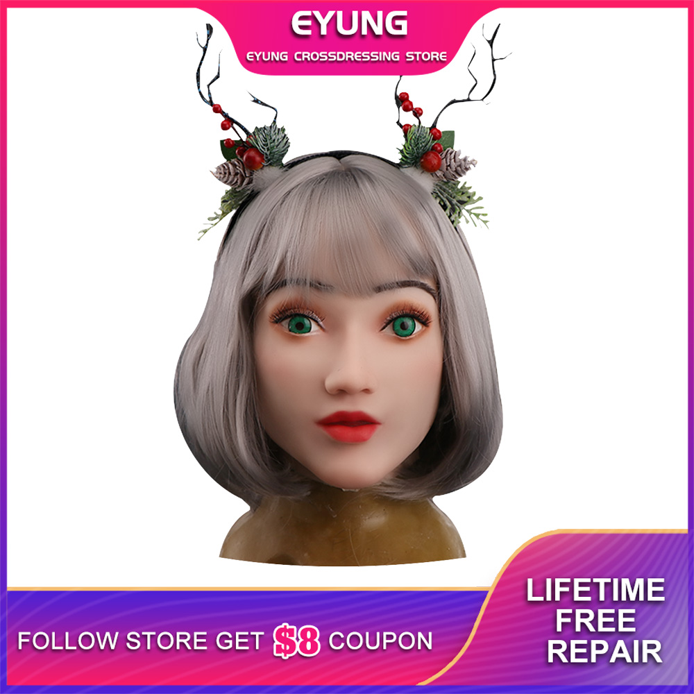 YR-H-Elsa angel face silicone realistic female skin Halloween dance masquerade cosplay drag queen crossdresser male to female
