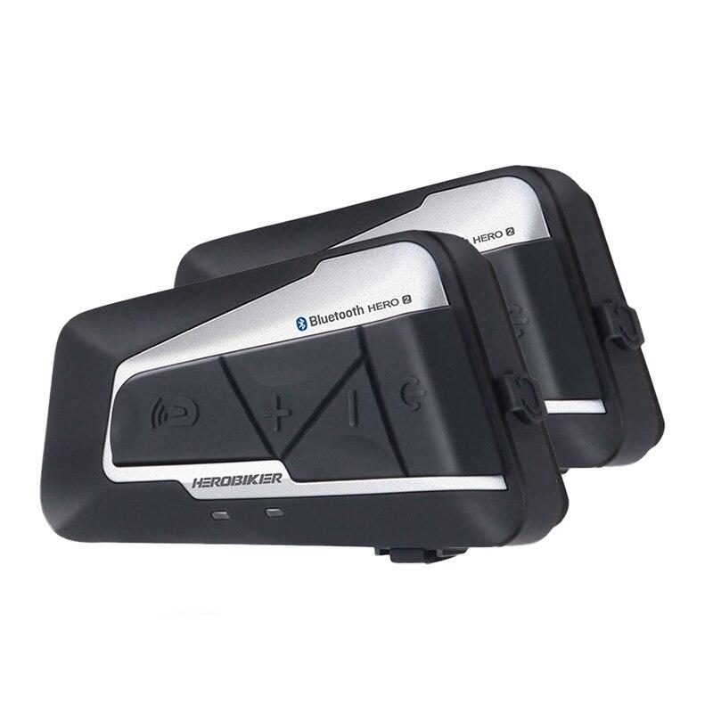 HEROBIKER 2 комплекта 1200 м BT мотоциклетный шлем домофон водонепроницаемый беспроводной Bluetooth Мото гарнитура переговорные FM радио для 2 поездок