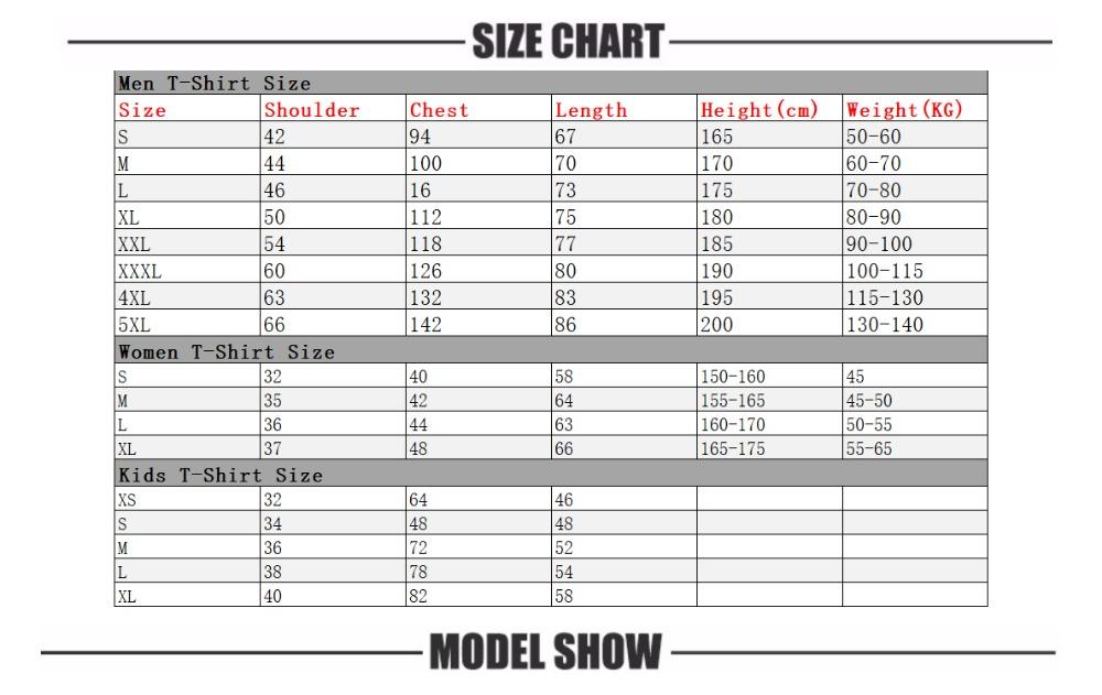 T-shirt size list