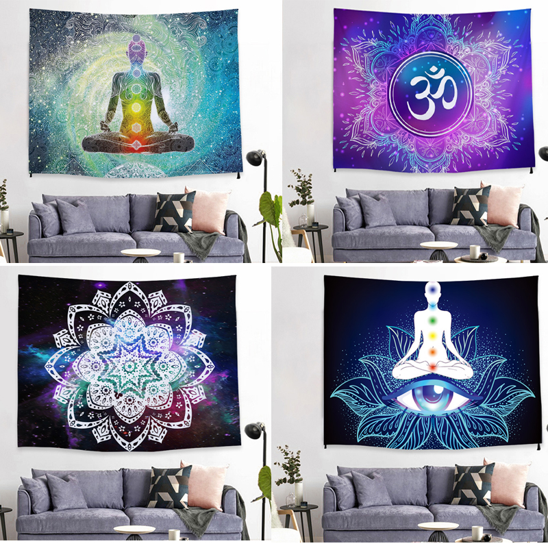 Mandala Bohemian tapestry ribbon lace wall hanging large tapestry psychedelic wall cloth carpet pad living room decoration