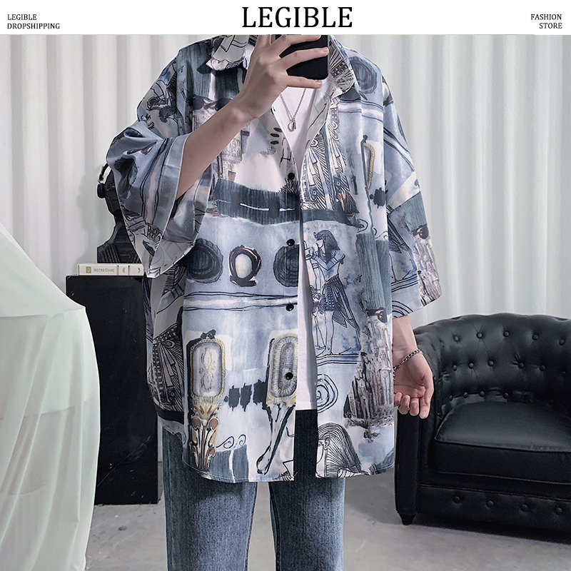 LEGIBLE Floral Shirt Men 2020 Men Korean Fashion Short Sleeve Shirt Male Hawaiian Shirts Casual Loose Clothes Men