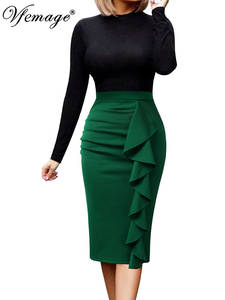 Vfemage Pencil-Skirt Slit Party-Fitted Stretch Ruched Split-Work Ruffle Business-Cocktail