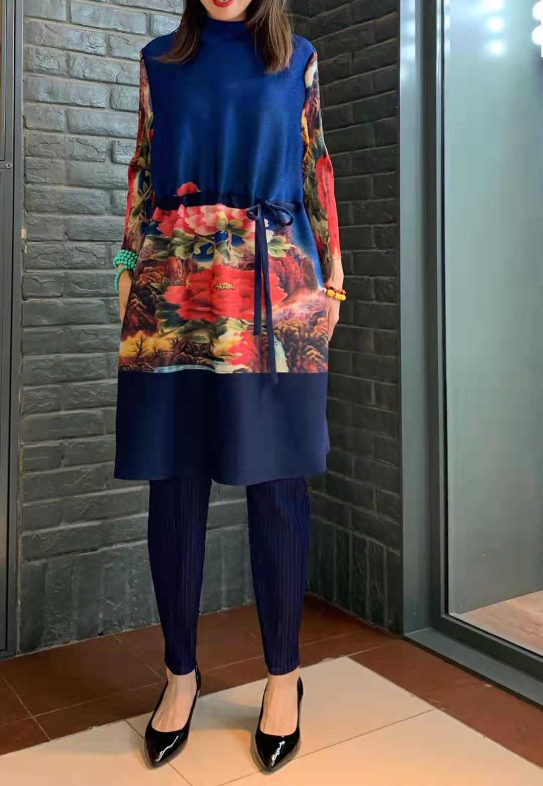Miyake Pleats New Thin Noble Printed Lace-up Dress dress women elegant dress plus size dresses girls vestido women clothes