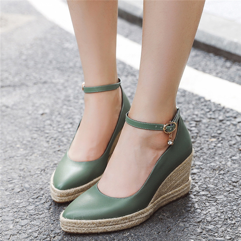 Classic Wedges High Heels Shoes Spring Casual Ankle Straps Pumps Shoes Women White Green Wedge Wedding Office Shoes For Woman title=